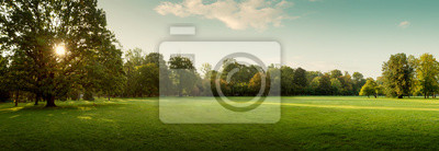 Poster Panorama of autumn city park at sunrise