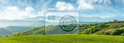 Poster panorama of beautiful countryside of romania. sunny afternoon. wonderful springtime landscape in mountains. grassy field and rolling hills. rural scenery
