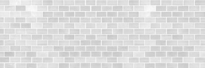 Poster Panorama of Modern white brick wall texture for background
