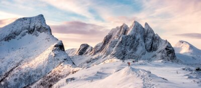 Poster Panorama of Mountaineer standing on top of snowy mountain range