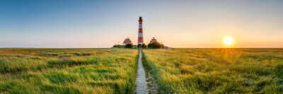 Poster Panorama of the Westerheversand Lighthouse at Westerhever in Nordfriesland in the German state of Schleswig-Holstein