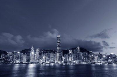 Poster Panorama of Victoria harbor of Hong Kong city at dusk
