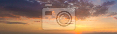 Poster Panorama photo twilight sky background. Colorful Sunset sky and cloud.vivid sky in twilight time background. Fiery orange sunset sky. Beautiful