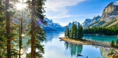 Poster Panorama view Beautiful Spirit Island in Maligne Lake, Jasper National Park, Alberta, Canada