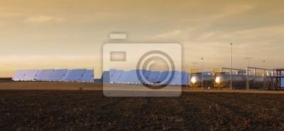 Panoramablick von Solar Heliostaten in Andalusien, Spanien