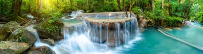 Poster Panoramic beautiful deep forest waterfall in Thailand