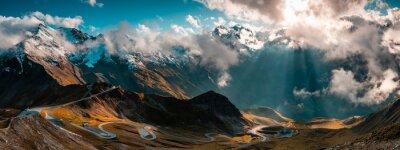 Poster Panoramic Image of Grossglockner Alpine Road. Curvy Winding Road in Alps.