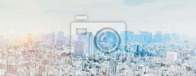 Poster panoramic modern city skyline mix sketch effect