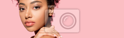 Poster panoramic shot of beautiful african american girl with clean face, isolated on pink