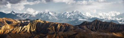 Poster Panoramic view of snow mountains range landscape