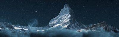 Poster panoramic view to the majestic Matterhorn mountain at night. Valais, Switzerland