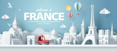 Poster Paper art of red car take travel to paris after covid outbreak end, safe travels and journey in paris concept