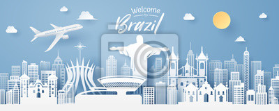 Poster paper cut of Brazil landmark, travel and tourism concept.