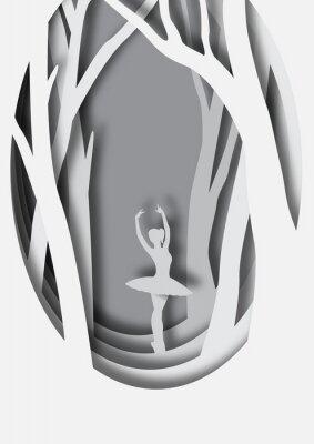 Poster Papier Kunst Carving Ballerina