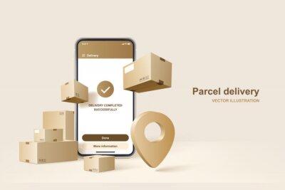 Poster Parcel delivery. Concept for fast delivery service. Vector illustration