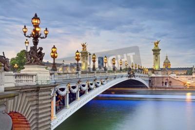 Poster Paris. Bild der Alexandre III Brücke in Paris, Frankreich.