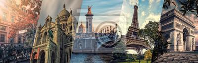 Poster Paris famous landmarks collage