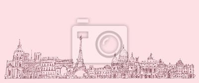 Paris, Frankreich, Jahrgang eingraviert Illustration, Hand gezeichnet