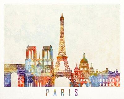 Paris-Grenzstein-Aquarellplakat