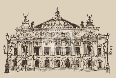 Paris, Palais Garnier Jahrgang eingraviert Illustration