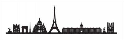 Paris skyline background. Paris famous landmark icon set. France, Paris travel black cityscape