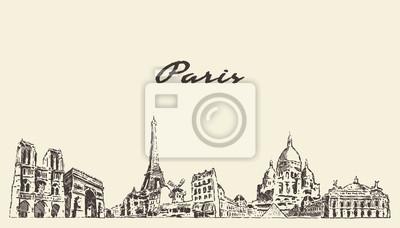 Paris skyline, France vector city drawn sketch