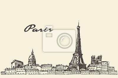 Paris Skyline Frankreich Illustration Hand gezeichnet