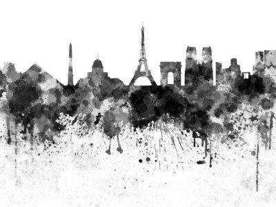 Poster Paris Skyline in schwarzem Aquarell
