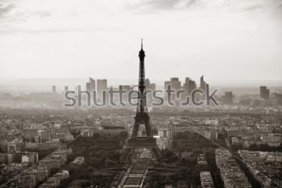 Poster Paris-Stadtdachspitzenansicht mit dem Eiffelturm Schwarzweiss.