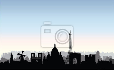 Pariser Stadtgebäude Silhouette. Französische stadtlandschaft Paris c