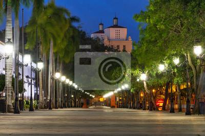 Paseo de la Princesa in old San Juan, Puerto Rico, at dusk