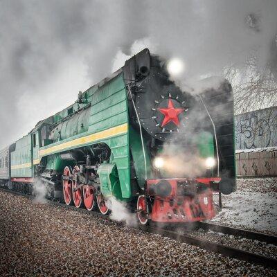 Poster Passagier retro Dampfzug geht schnell.