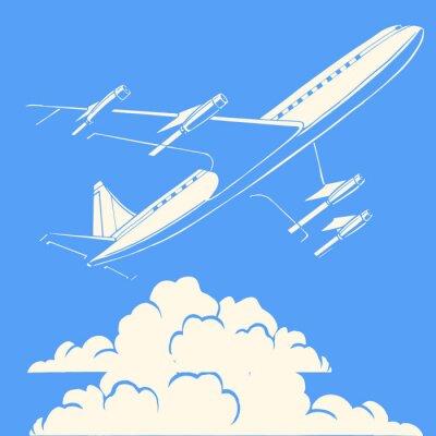 Poster Passagierflugzeug in den Wolken Retro-Hintergrund