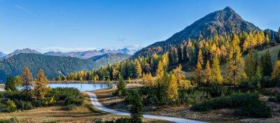 Poster Peaceful autumn Alps mountain view. Reiteralm, Steiermark, Austria.
