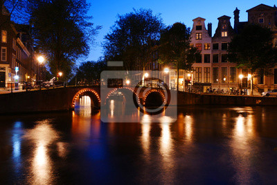 Peaceful evening by an Amsterdam canal bridge