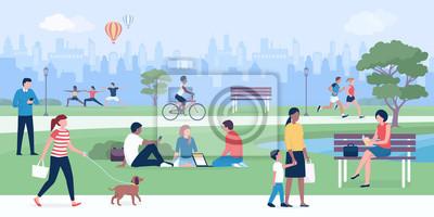 Poster People enjoying at park together