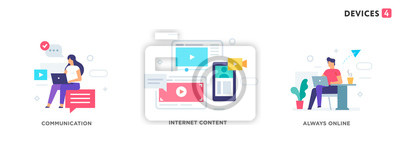Poster People use gadgets. set of icons, illustration. Smartphones tablets user interface social media.Flat illustration Icons infographics. Landing page site print poster.