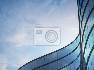 Poster Perspective of high rise building and dark steel window system with clouds reflected on the glass.Business concept of future architecture,lookup to the angle of the building corner. 3d rendering
