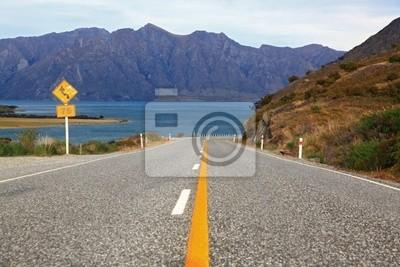 Perspektive der Autobahn Straße Autobahn zum See Hawea in Wanaka