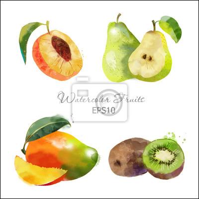 Pfirsich, Birne, Kiwi, Mango