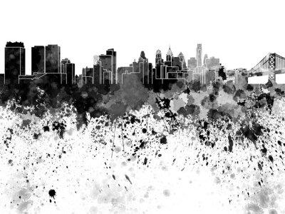 Philadelphia skyline in watercolor on white background