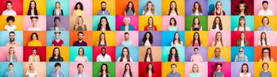 Poster Photo collage of cheerful excited glad optimistic crowd of different human have toothy beaming smile wear casual clothes isolated over bright multicolored background