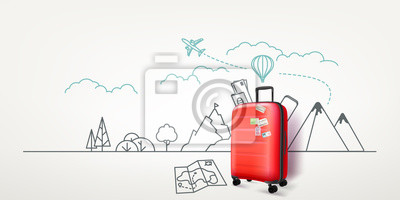 Poster Photoreal red suitcase with cityscape background. World travel vector concept