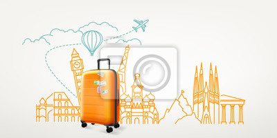 Poster Photoreal suitcase with different travel destination elements. World travel vector concept