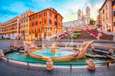 Poster Piazza de Spagna in Rome, italy. Spanish steps in the morning. Rome architecture and landmark.