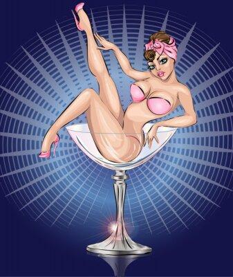 Poster Pin Up sexy Mädchen tragen rosa Bikini in Martini-Glas