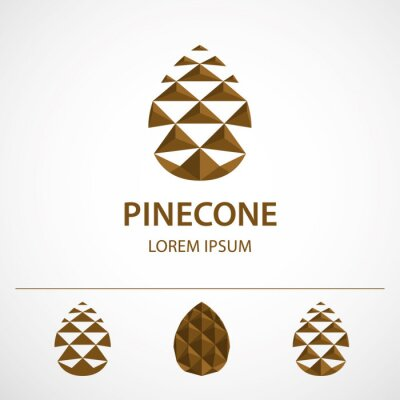 Poster Pine cone logo template, variations. Low polygonal icon or concept image, vector illustration.