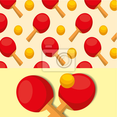 Poster Ping Pong Ball Schläger Ball Sport Wettbewerb Muster Vektor-Illustration