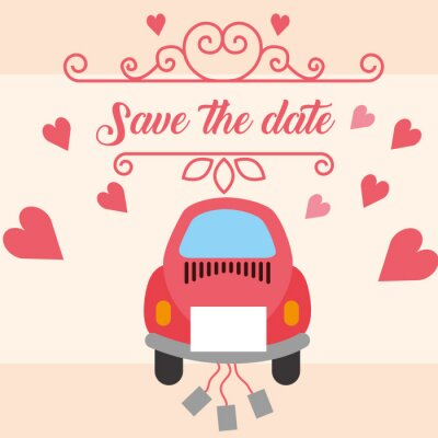 pink car wedding save the date hearts love vector illustration
