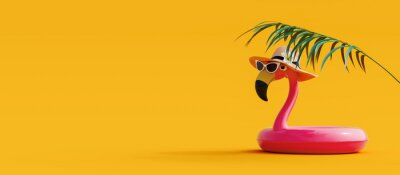 Poster Pink flamingo with sunglasses and hat under palm leaf on yellow summer background 3D Rendering, 3D Illustration